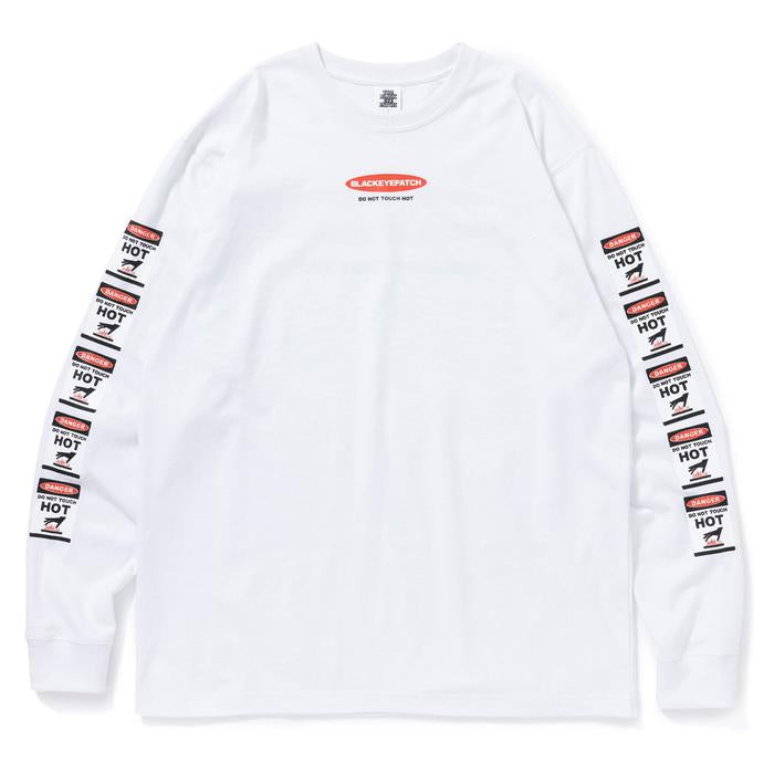DANGER HOT LABEL L/S TEE(WHITE) -BLACK EYE PATCH