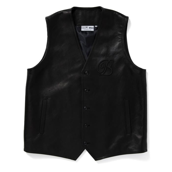 EMBLEM LEATHER VEST(BLACK) -BLACK EYE PATCH