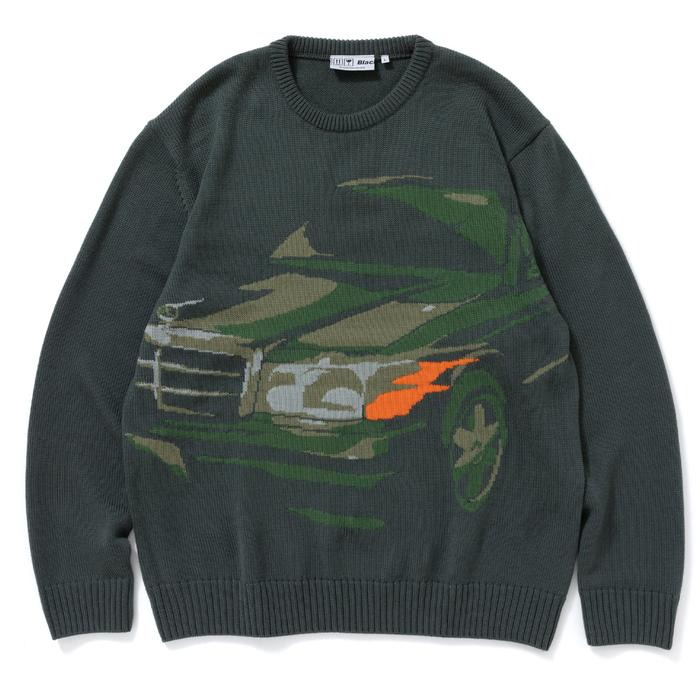 BENZO KNIT SWEATER(OLIVE) -BLACK EYE PATCH