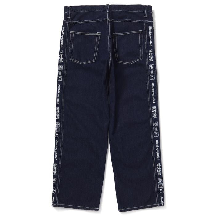 HANDLE WITH CARE DENIM PANTS BOLD STITCHED(INDIGO) -BLACK EYE PATCH