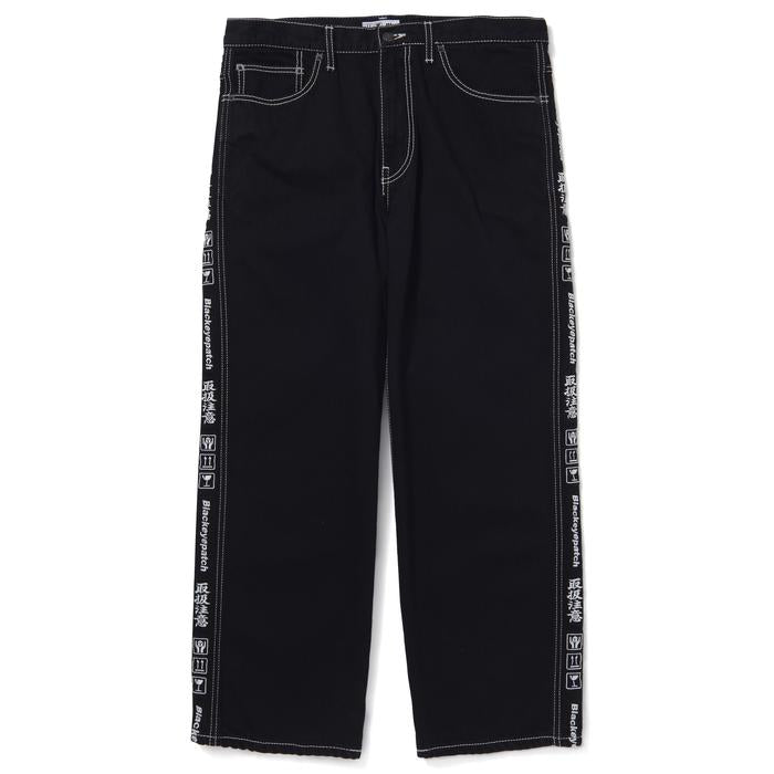 HANDLE WITH CARE DENIM PANTS BOLD STITCHED(BLACK) -BLACK EYE PATCH