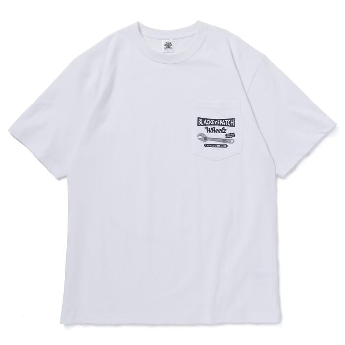 WHEELZ TEE(WHITE) -BLACK EYE PATCH