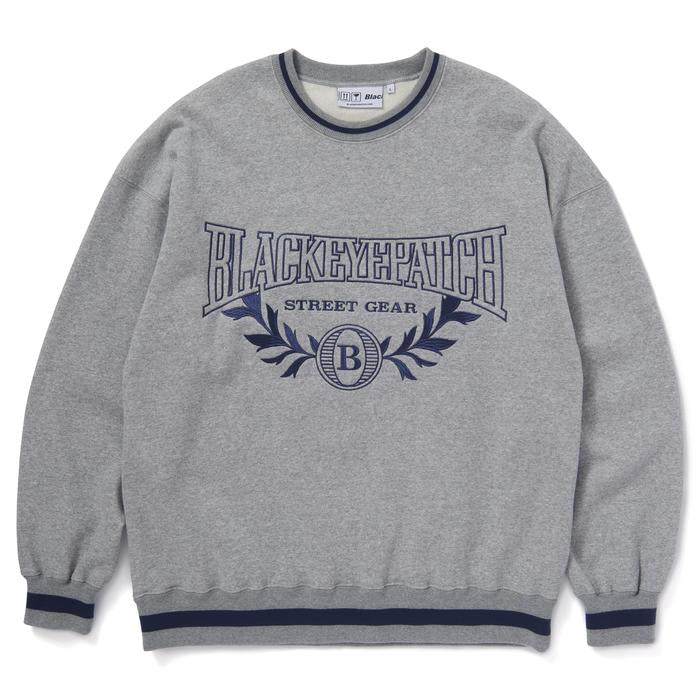 COLLEGE CREW SWEAT(GREY) -BLACK EYE PATCH