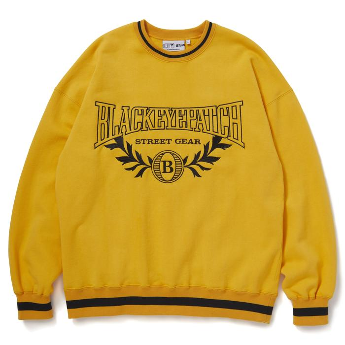 COLLEGE CREW SWEAT(YELLOW) -BLACK EYE PATCH
