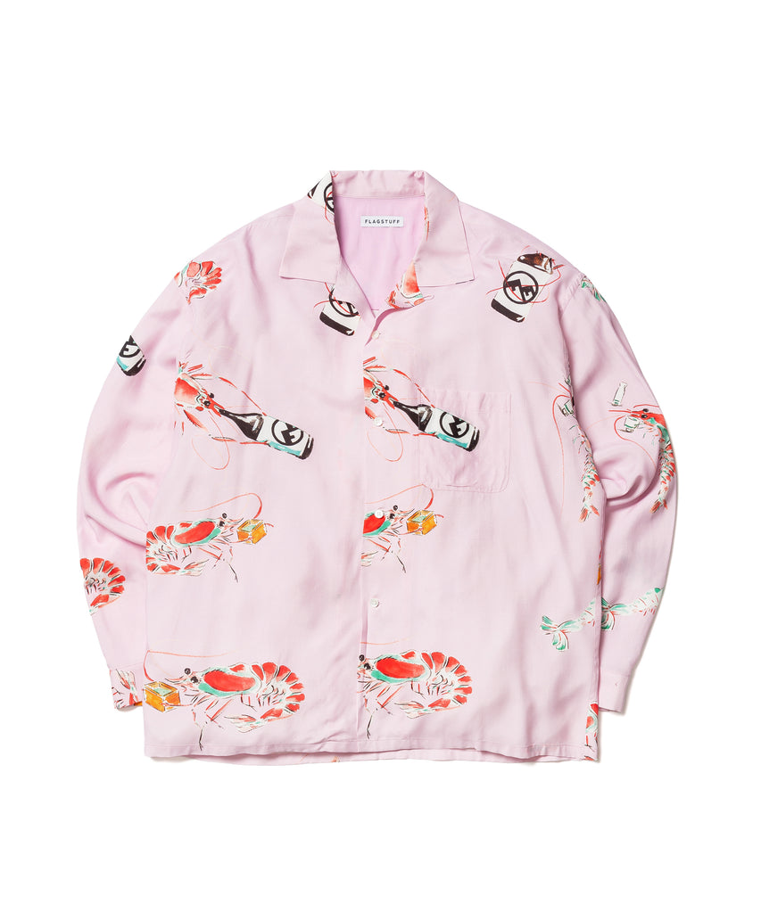 """DRUNKEN PRAWN"" L/S SHIRTS(PINK) -FLAGSTUFF"