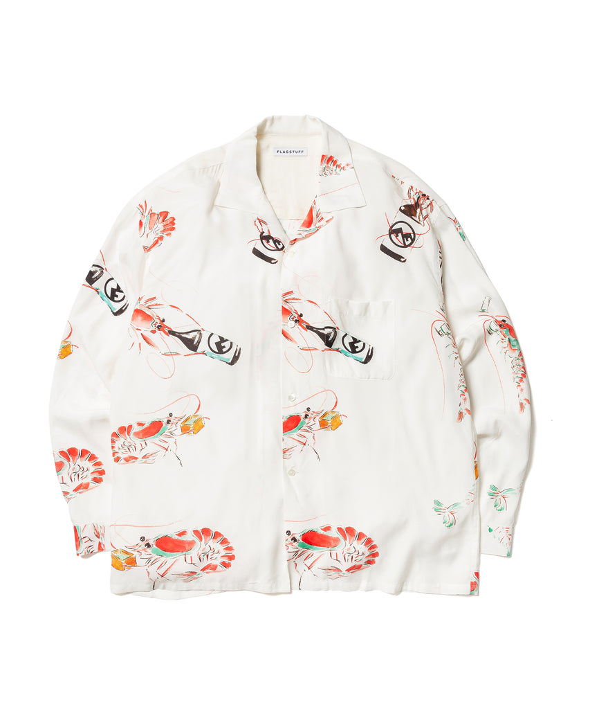 """DRUNKEN PRAWN"" L/S SHIRTS(WHITE) -FLAGSTUFF"