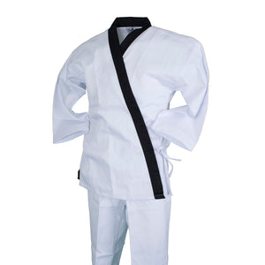 BMA Ribbed Fabric White Open Uniform W/ Black Trim