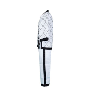 BMA White Black Trim Hapkido Uniform With Diamond Stitching