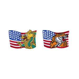 Wavy USA Flag Patch With Animal