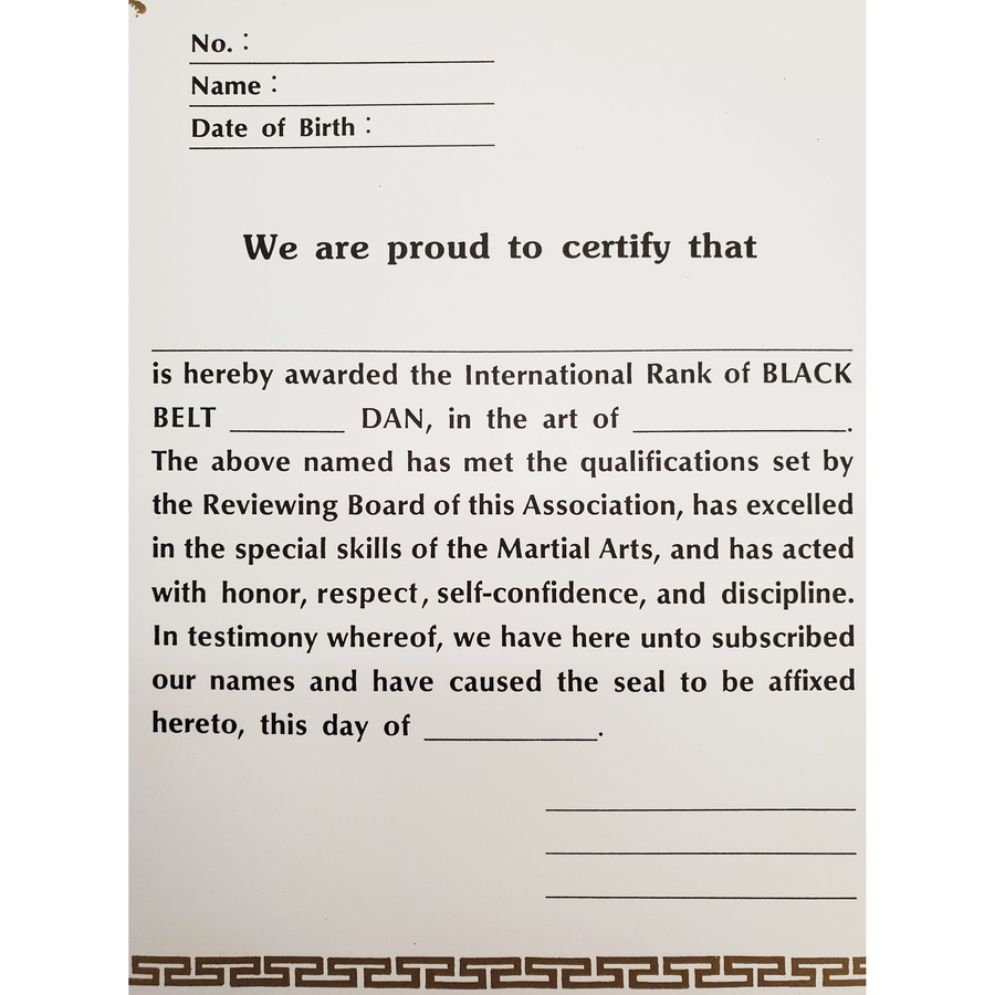 "Certificate ""Black Belt Dan"" With USA Logo"