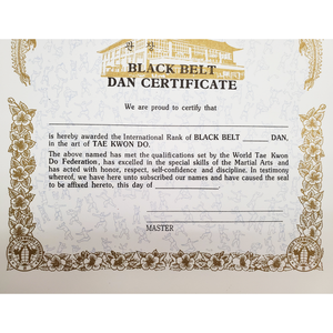 "Certificate ""Black Belt Dan"" With Flag Logo"