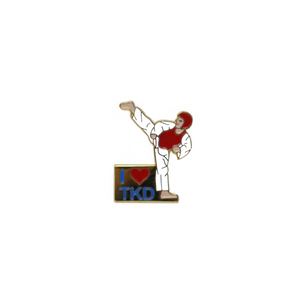 I Love TKD With Kicker Pin