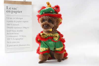 Funny Pet Costume Clothes Chinese Lion Dance Suit For Pet