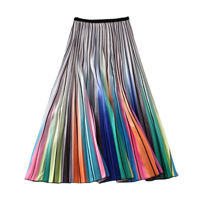 A-line Pleated Rainbow Striped Women Skirts
