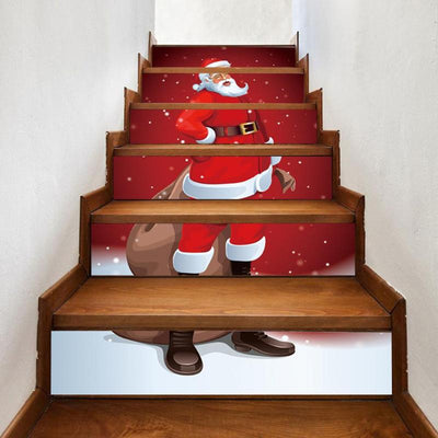 6pcs/set Waterproof PVC Wall Stair Stickers Christmas Decoration