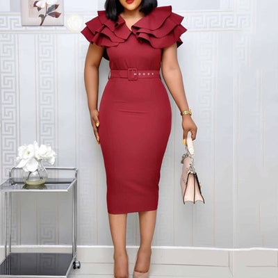 Elegant Ruffle Red Wine Dress Women Plus Size
