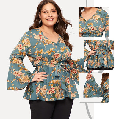 Long Sleeve Knot Flounce Floral Print Blouse Women Plus Size