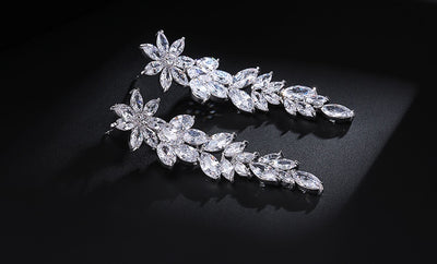 Luxury Flower Shape Cubic Zirconia Drop Earrings