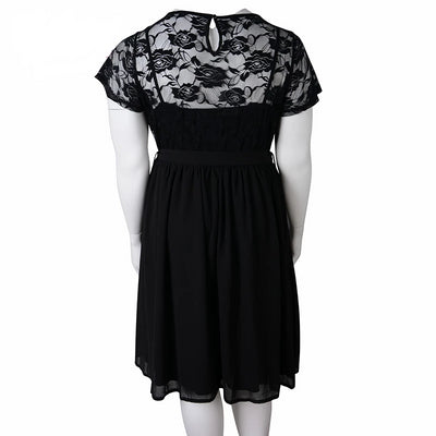 Floral Lace O-neck Swing Dress Women Plus Size