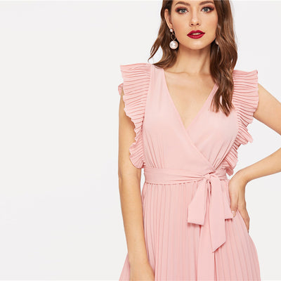 V Neck Long Pleated Women Dress