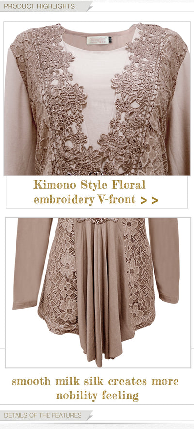 Floral Lace Long Sleeve Tunic Blouse Women Plus Size