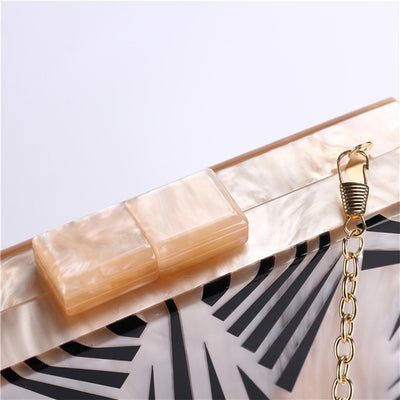 Elegance Acrylic Pearly Women Clutch Bag With Chain