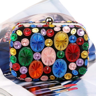 Acrylic Beaded Women Clutch Bags With Chain