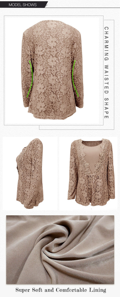 Vintage 3D Floral  Lace Long Sleeve Women Plus Size