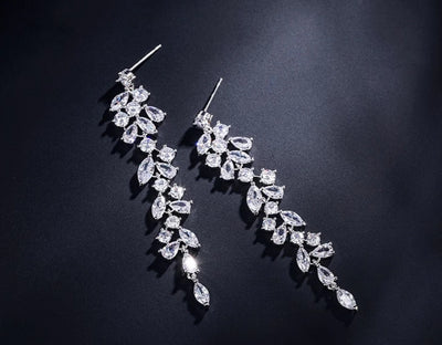 Elegant CZ Leaf Style Drop Earrings