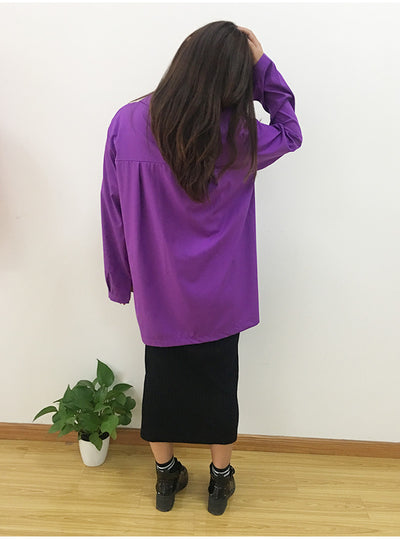 Long Sleeve Chiffon Irregular Shirts Women Plus Size