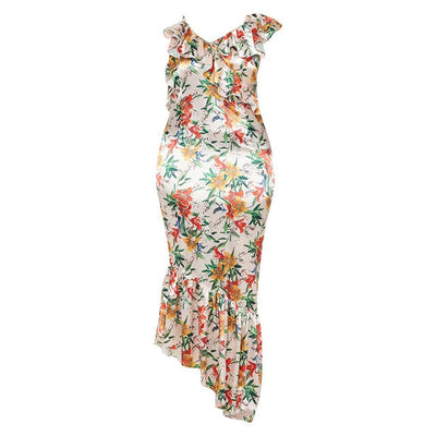 Flower Print Sleeveless Spaghetti Maxi Dress Women Plus Size