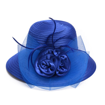 Luxury Wide Brim Hat With Floral For Women