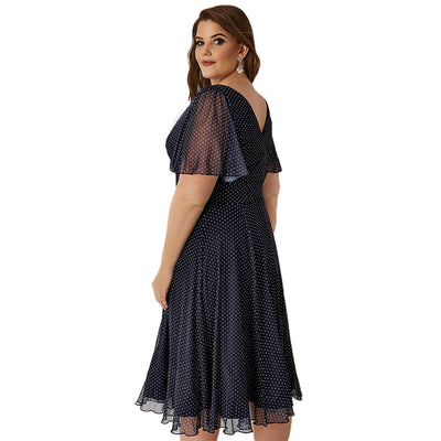 Casual Dot Print V Neck Short Sleeve Midi Dress Women Plus Size