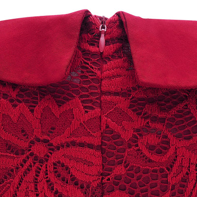 Elegant Vintage Burgundy Lace Women Plus Size Dress