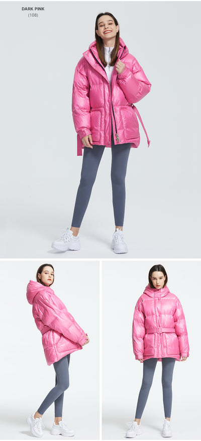 Puffy Collar Hooded Women Jacket  With Belt