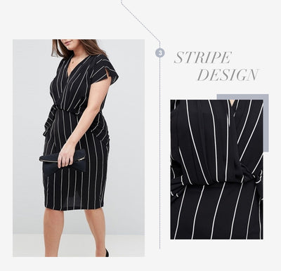 Vertical Stripe Print V Neck Short Sleeve Midi Dress Women Plus Size