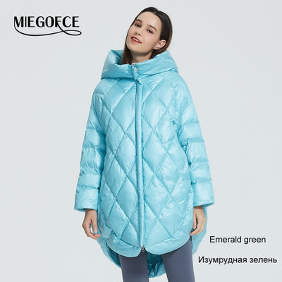Oversize Hooded Puffed Collar Women Coat