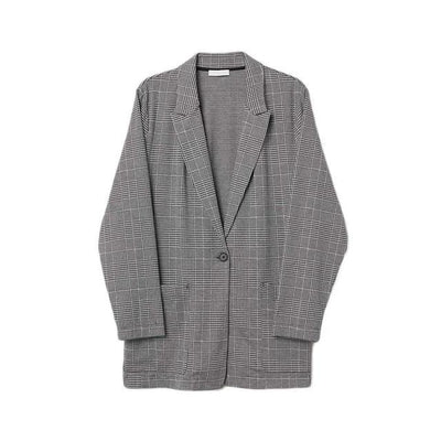Professional Plaid Blazer Women Plus Size