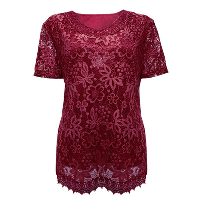 Elegant Floral Lace Blouse Women Plus Size