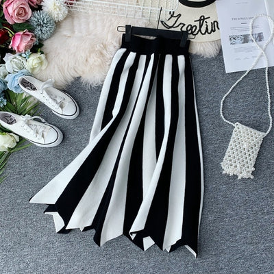 A-line Striped Color Women Knit Skirt