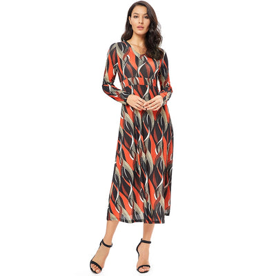Long Sleeve Printing Wave Women Plus Size Dresses