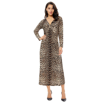 Leopard Long Sleeve Dress Women Plus Size