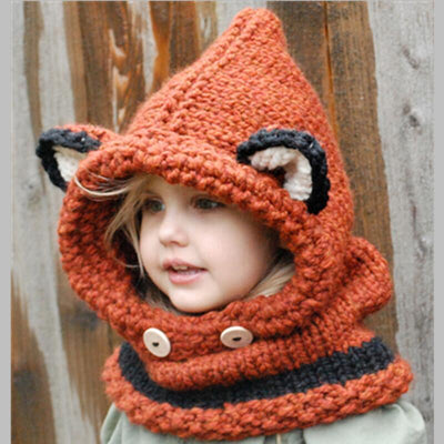 Cute Fox Scarf Winter Hat For Kids