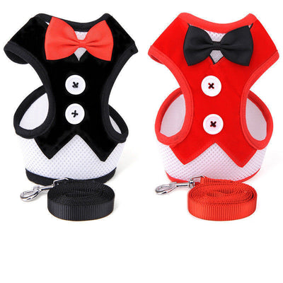 Elegant Tuxedo Vest with Leash For Pet