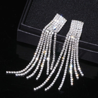 Silver Color Rhinestone Crystal Long Tassel Earrings