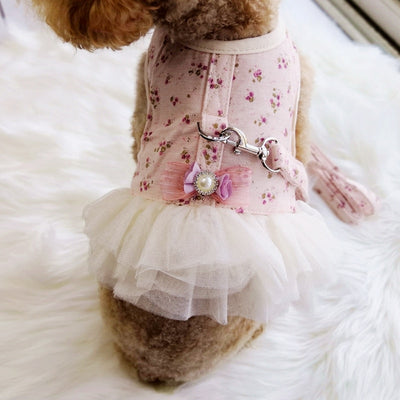 Floral Princess Dresses Collar With Leash For Pet