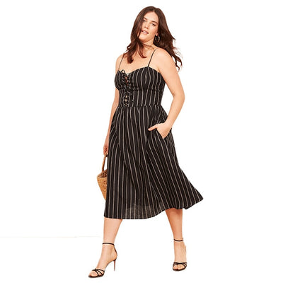 Criss-cross Spaghetti Strap Dress Women Plus Size