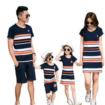 Outfits Striped T-shirt And Dresses Family Clothes Set