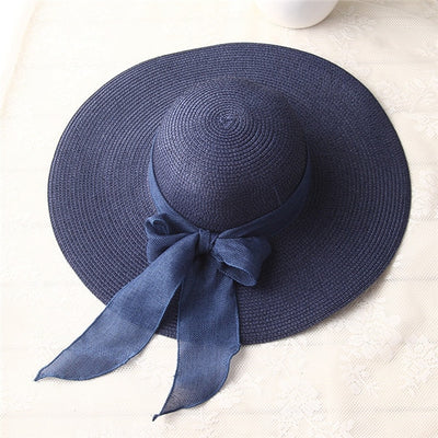 Wide Brim Sun Hat With Bow-knot For Women