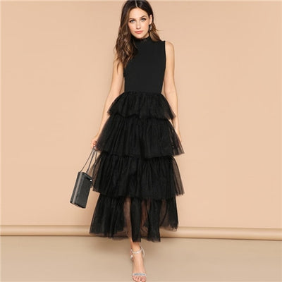 Sleeveless Layered Mesh Party Black Dress Women